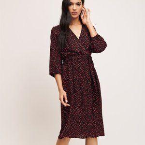Dynamite Long Sleeve Wrap Midi Dress